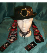 STEAMPUNK unisex  felt bowler party hat SIZES/M with cyber welding monocle - $30.33