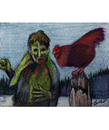 original ACEO drawing zombie and rooster chicken - $14.99