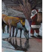 original ACEO drawing Christmas Santa Claus horses watering hole - $14.99