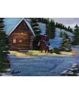 original ACEO drawing Christmas tree cowboy horse winter scene - $14.99