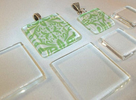 10 X 1 inch Small Square Crystal Clear Glass Jewelry Tiles Pendants Earr... - $6.88