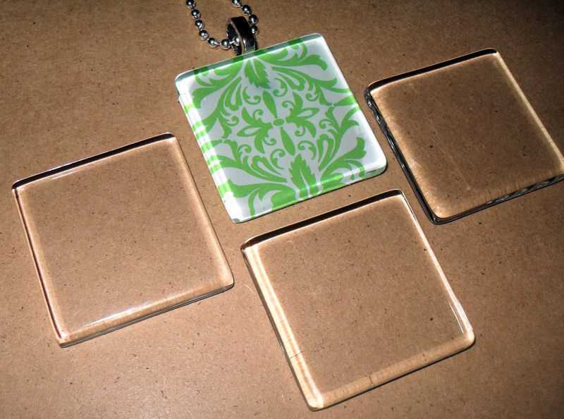 10 x 1 inch small square crystal clear glass jewelry tiles
