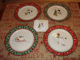 Longaberger Pottery Set Of 4 Holiday Snack Plates - $45.99