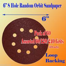 "60 X 60/120/240 Grit 6""x 8 Hole Sanding Disc Sandpaper Velcro Backing Sa... - $18.61"