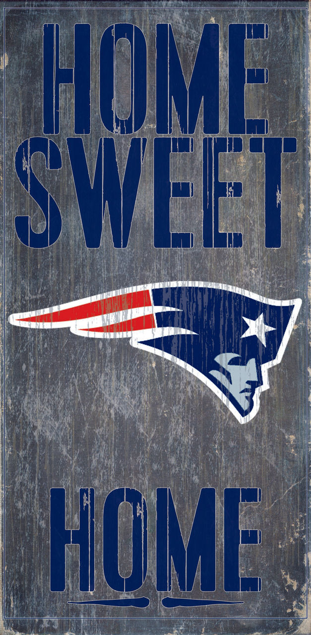 """NEW ENGLAND PATRIOTS HOME SWEET HOME WOOD SIGN and ROPE 12"""" X 6""""  NFL MAN CAVE!"""