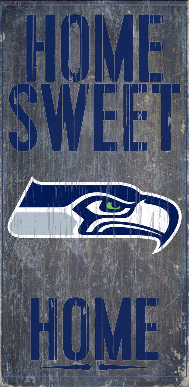 "SEATTLE SEAHAWKS HOME SWEET HOME WOOD SIGN and ROPE 12"" X 6""  NFL MAN CAVE!"