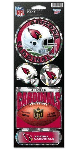 ARIZONA CARDINALS PRISMATIC HOLOGRAPH STICKER DECAL SHEET OF 5 NFL FOOTBALL