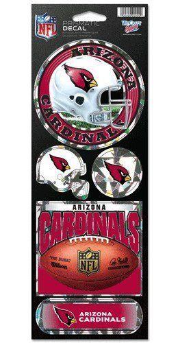 ARIZONA CARDINALS PRISMATIC HOLOGRAPH STICKER DECAL SHEET OF 5 NFL FOOTBALL
