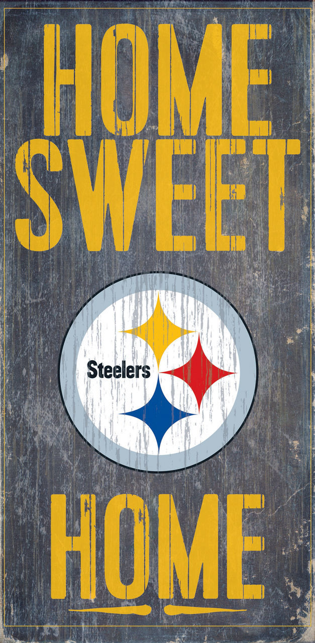 "PITTSBURGH STEELERS HOME SWEET HOME WOOD SIGN and ROPE 12"" X 6""  NFL MAN CAVE!"