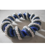 "Cellini Spiral Bangle Bracelet, Blue & White, ""Pearls of the Adriatic"" - $59.00"