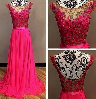lace Prom Dresses,hot pink Prom Dress,Dresses For Prom,beauty Prom Dresses