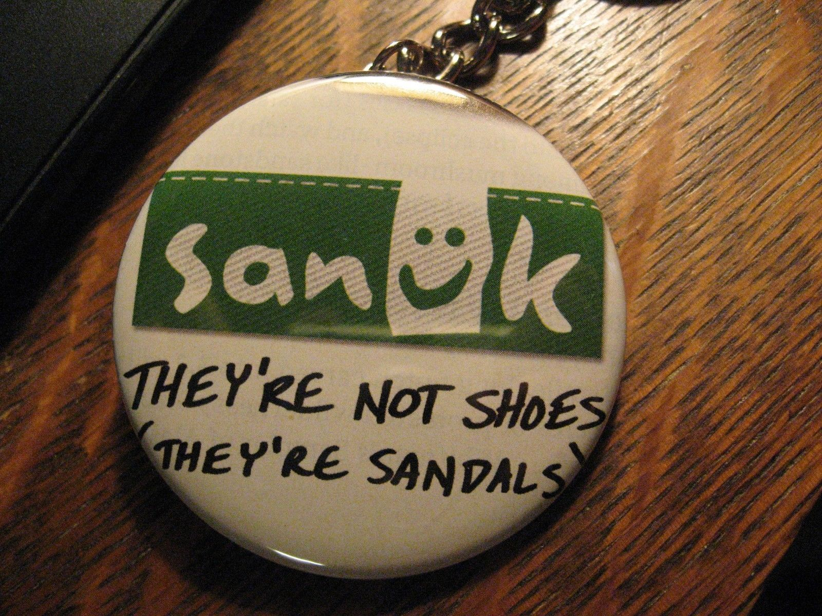 Sanuk Keychain - RePurposed Magazine Shoe Sandal Ad Backpack Purse Clip Ornament