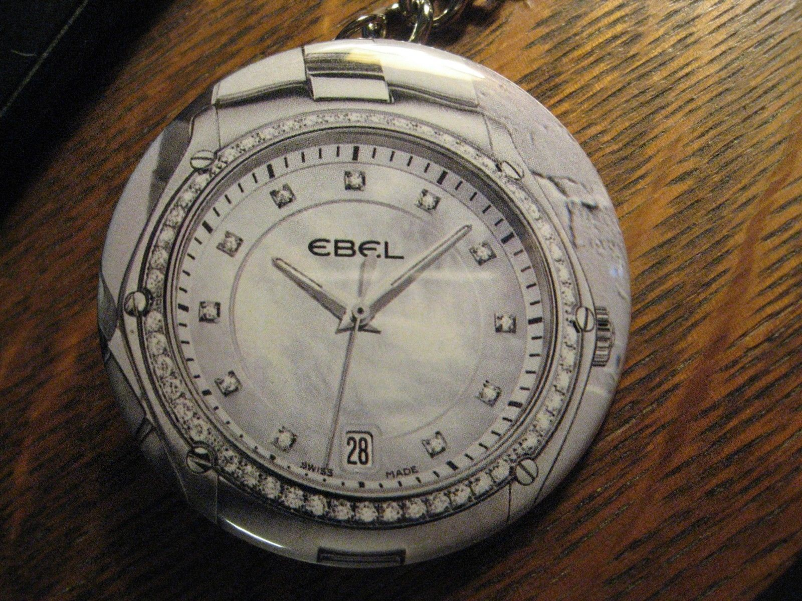 Ebel Keychain - RePurposed Diamond Wrist Watch Ad Backpack Purse Clip Ornament