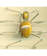 Tigereye Spider Stainless Steel Wire Wrap Brooc... - $31.99