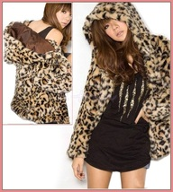 Luxury Long Sleeve Silk Lined with Pockets Leopard Faux Fur Hooded Parka Jacket