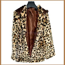 Luxury Long Sleeve Silk Lined with Pockets Leopard Faux Fur Hooded Parka Jacket  image 2