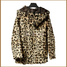 Luxury Long Sleeve Silk Lined with Pockets Leopard Faux Fur Hooded Parka Jacket  image 3