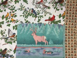 3 Mixed Craft Fabric Remnants Bullfinch Birds Branches Deer Ducks Bears DIY - $6.36