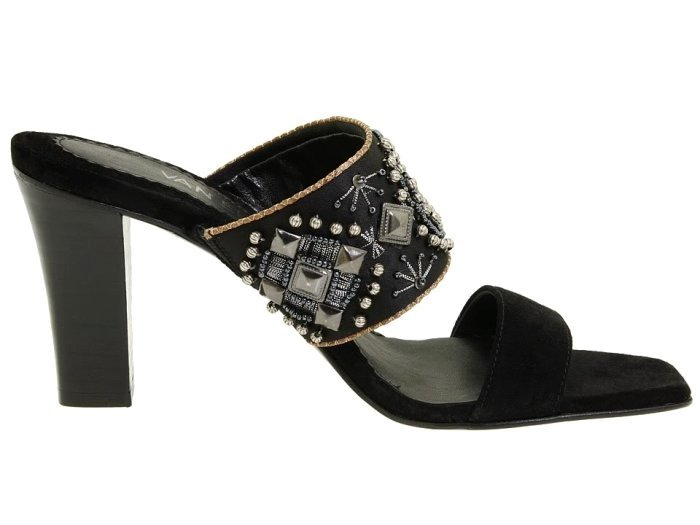 Vaneli Hilary Black Satin Sandals Shoes Womens 6.5 Heels Beads Ornate Narrow