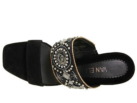 SZ 6.5 VANELi Hilary Black Satin Sandals Shoes Womens Heels Beads Ornate Narrow