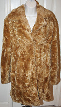 INC International Concepts Petites Caramel Tan Faux Fur Knee Coat Small Fluffy - $129.99