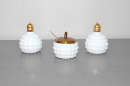 Milk Glass Set of Shakers and Mustard Jar with Lid - $15.00