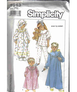 Simplicity 8943 Gown Pajamas Robe bonnet Hat Pattern 3 4 toddler girl ni... - $7.77