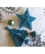 Lot of 4 Turquoise Christmas Ornaments Tree Sta... - $5.00