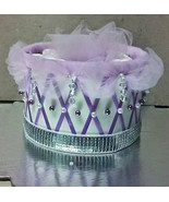 Princess Theme Baby Shower Purple Diaper Cake Gift 1 Tier Diaper Cake Decor - $11.99