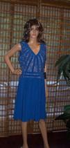 Adrianna Papell V Neck lace BLUE  Dress sz 12 NWT - $78.21