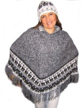 Alpakaandmore Women Poncho Set with Hat Alpaca Wool Grey One Size (Grey) - $96.23