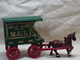 Vintage Cast Iron US MAIL Horse Drawn Buggy Toy - $18.00