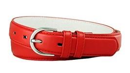 Solid Color Dress Leather Adjustable Skinny Belt for Women (Red, Large) - $5.93