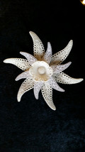 "Vintage Celluloid Winter White Brooch Pin 4"" in Gift Box - $39.99"