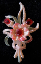 "Vintage Celluloid Flower Brooch Pin Red Rhinestones 3.5"" in Gift Box - $34.99"