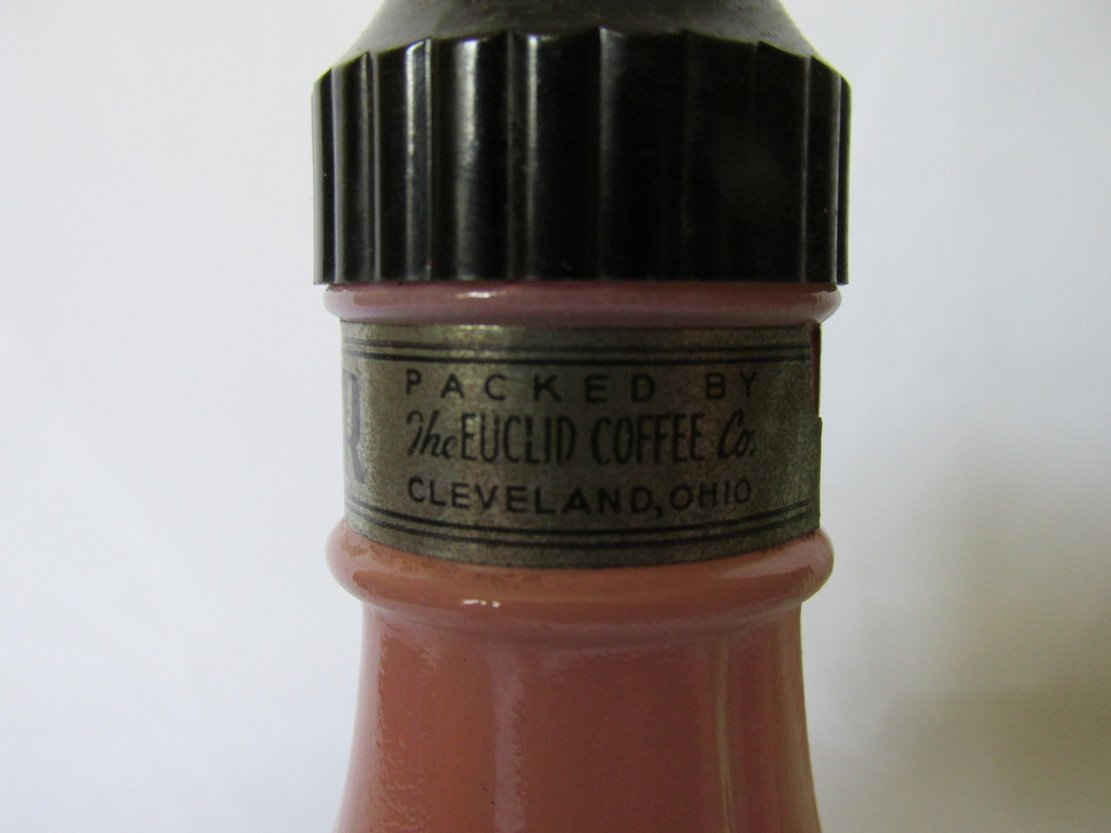 Vintage Anchor Hocking Salt & Pepper Shakers - Euclid Coffee Co. Label, 1950s