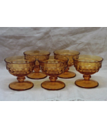 Vintage INDIANA GLASS CO. Amber Whitehall Stemmed Sherbet Dishes // Seve... - $23.00