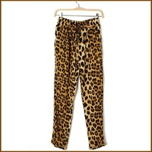 Leisure Loose Brown Leopard Print Pants with Elastic Waist image 2