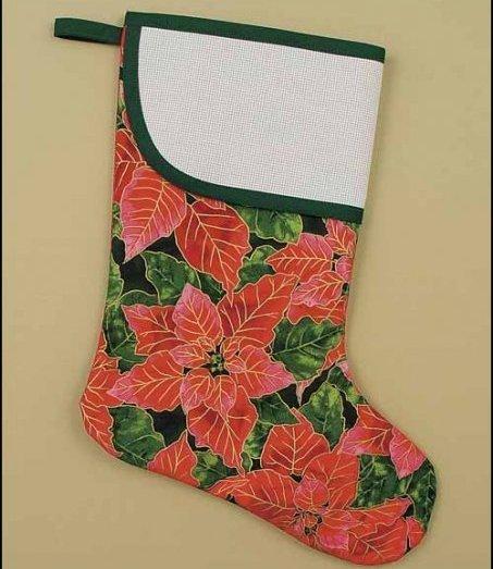 4131 poinsettia large cross stitch stocking