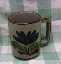 Vintage Stoneware Coffee Mug with Blue Flower Design - $6.00