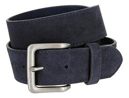 Square Buckle Casual Jean Suede Leather Belt for Men (Navy, 40) - $22.27