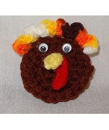 Vintage Hand Crochet Thanksgiving Turkey Head Holiday Pin Handmade Brown... - $9.99