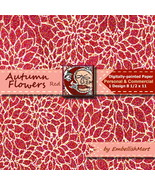 Red Digital Paper 8 1/2 x 11 Personal and Commercial Floral Design - $1.45