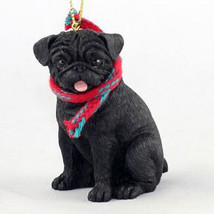 "LARGE 3"" PUG (BLACK) DOG CHRISTMAS ORNAMENT HOLIDAY Figurine Scarf  gift - $14.99"