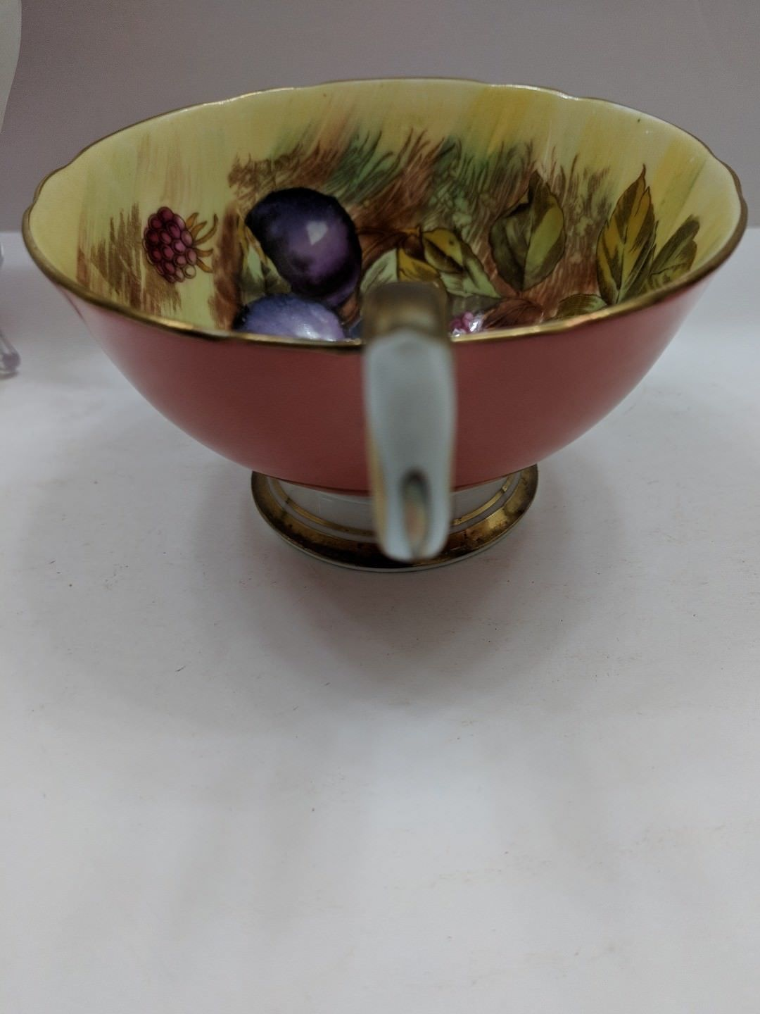 Aynsley England Tea Cup And Saucer Orchard Fruits Signed D. Jones Orange image 10