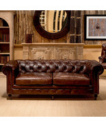 "89"" Sofa Vintage Cigar Brown Top Grain Leather Tufted Chesterfield Indus... - $3,460.05"