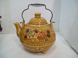 Harvest Gold Hand Painted Fruit Apple Pumpkin Teapot Japan with Wire Handle - $12.86
