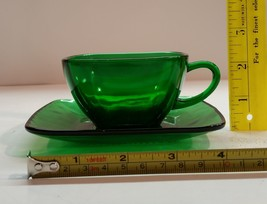 Vintage Anchor Hocking Charm Forest Green Cup and Saucer - $5.99