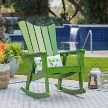 Summer Green Adirondack Style Rocking Chair Outdoor Patio Porch Rocker C... - $185.42