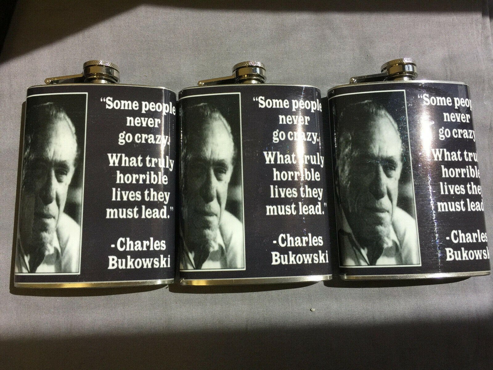 Set of 3 Charles Bukowski Some Never Go Crazy Flasks 8oz Stainless Steel
